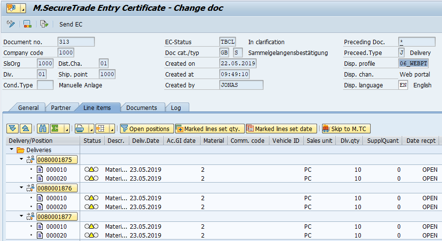 Manage Entry Certificates for EU deliveries in SAP | Mercoline